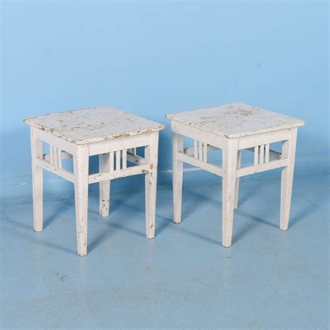 antique stools for pair of antique painted white stools from sweden 4132