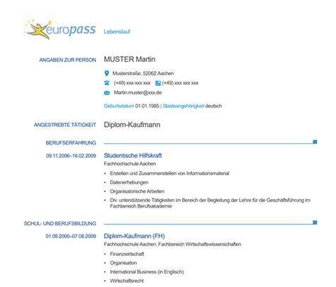 Europã Ischer Lebenslauf Muster by Europ 228 Ischer Lebenslauf Muster Bewerbung Schreiben