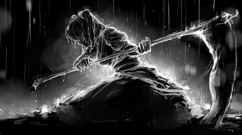 Abstract, Rain, Black And White, Girl Reaper