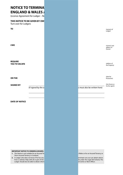 notice  terminate  lodger agreement form template