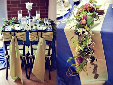 royal blue and gold table decorations photograph blue gold