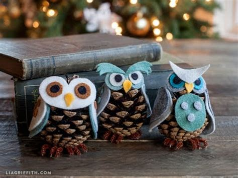 owl creations from pine cones and fluff kid s craft idea felt pinecone owl ornaments