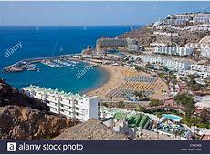 Beach and marina, Puerto Rico, Gran Canaria, Canary