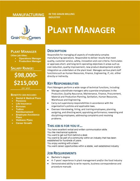 grain milling careers plant manager