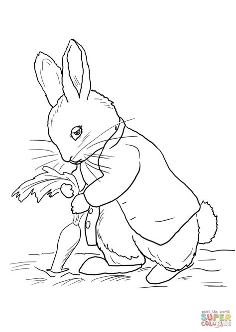 peter rabbit stealing carrots coloring page  printable coloring pages