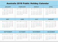 Free Australia 2019 Calendar PDF, Excel, Word Templates