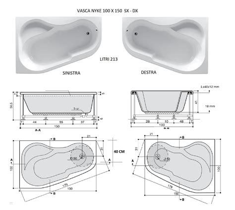 vasca da bagno 150 nyke 100x150 vasca da bagno asimmetrica