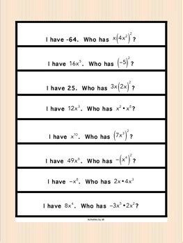 exponent rules  activities  jill tpt