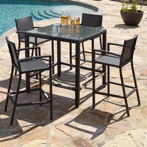 outdoor wicker table and chairs michio resin wicker outdoor 5 piece bar table and arm