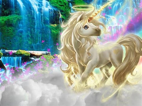 beautiful  picture unicorn silk clouds rainbow wallpaper