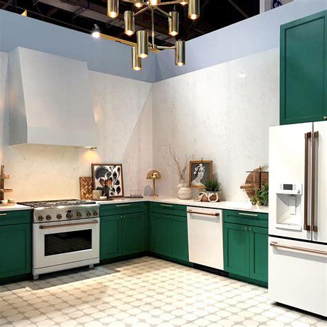 ge cafe white matte appliances kitchen  bath