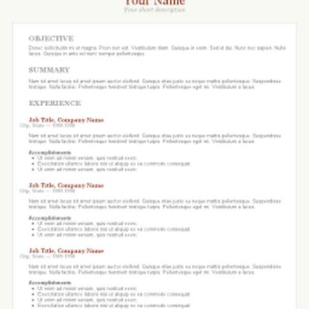 Standard Resume Template Word by Free Ms Resume Templates