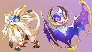 Chibi Lunala And Solgaleo Pokemon Su Wallpaper 14799