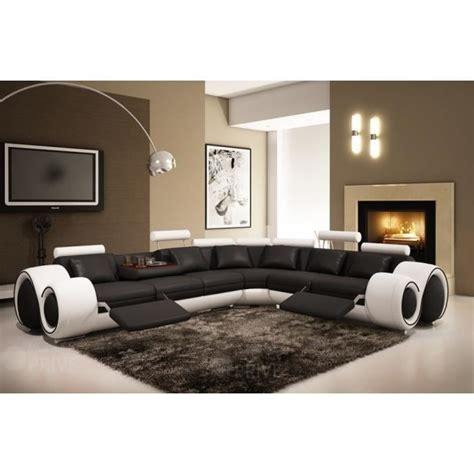 canapé avignon canapé d 39 angle cuir noir et blanc relax oslo