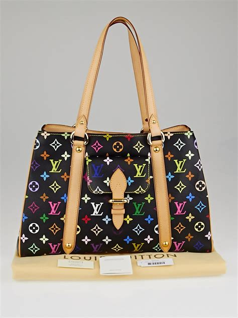 louis vuitton black monogram multicolore aurelia mm tote