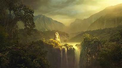 Wallpapers Mountain Landscape Painting Artistic Impressionism Waterfall