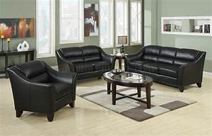 504531 brooklyn sofa in black bonded leather by coaster for Furniture coasters home depot
