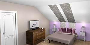 Chambre avec plafond en pente 12 decoration sous home for Chambre avec plafond en pente