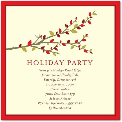 seasonal branch corporate holiday party invitations in tomato hello little one