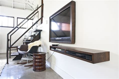 Rustic Brown Old Wooden Wall Mounted Floating Tv Console