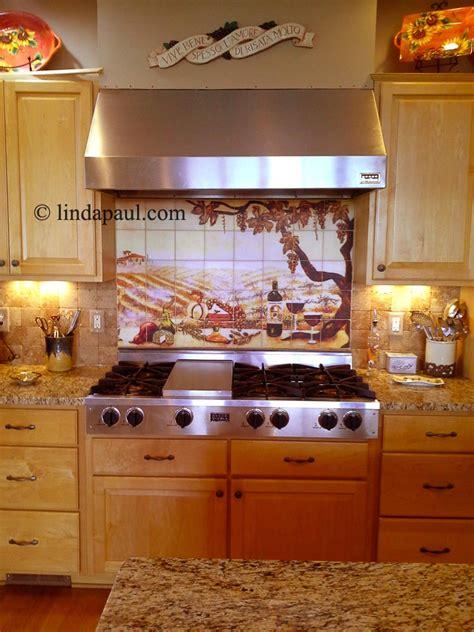 vineyard tile murals tuscan wine tiles kitchen