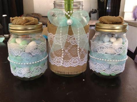 mason jar wedding center pieces lace burlap pearls