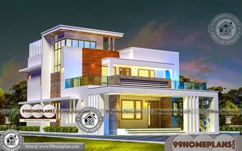 bedroom house design   story contemporary flat roof plans
