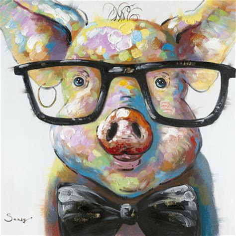 moes home collection smart pig painting print  canvas