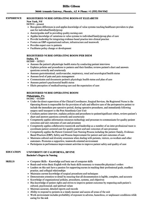 registered nurse operating room resume sles velvet