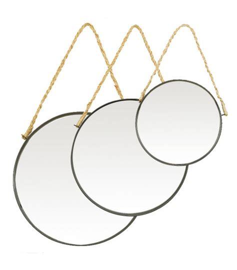 ensemble bureau et rangement miroirs suspendus ronds en métal noir et corde en jute