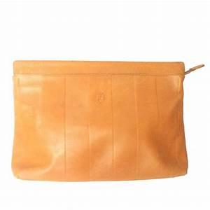 vintage fendi orange brown genuine leather mini document With document purse