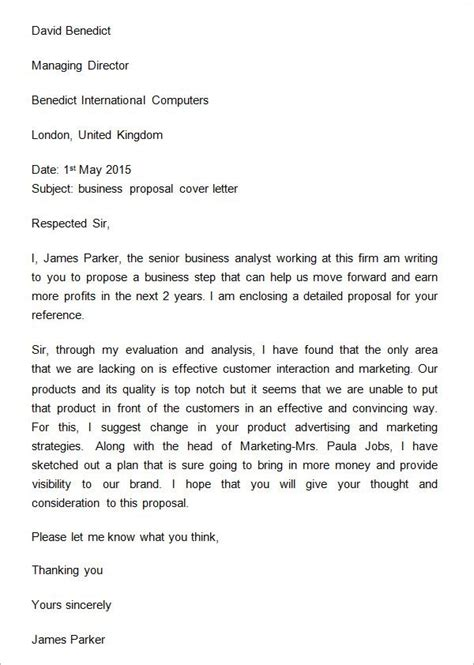 sample business proposal cover letter business