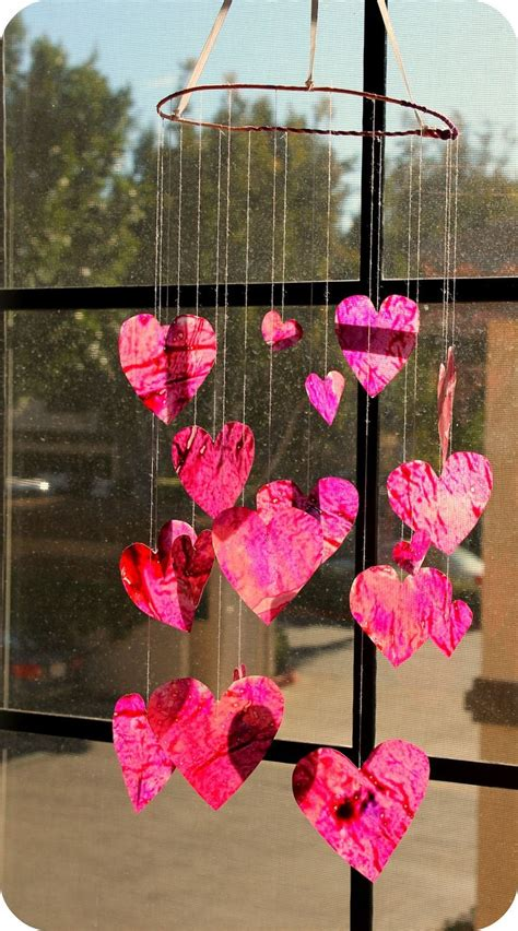diy project crayon waxed paper stained glass heart mobile