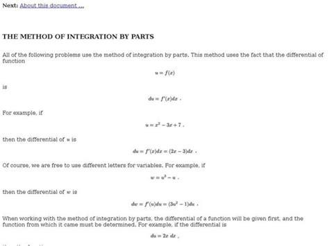 method  integration  parts interactive