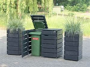 Mülltonnenbox Holz Anthrazit : 2er m lltonnenbox pflanzs ulen holz anthrazit grau 2er m lltonnenbox ~ Whattoseeinmadrid.com Haus und Dekorationen