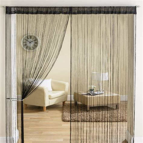 classic string tassle fringe panel divider window door curtain 90x200cm black ebay - How To Hang String Curtains