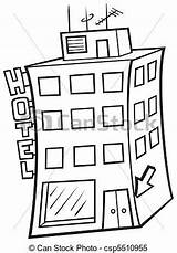 Hotel Building Illustration Vector Para Clipart Cartoon Colorear Hotels Clip Drawing Pintar Adornar Imagen Drawings Line Depositphotos Hostel Hostal Clever sketch template