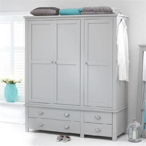 Large Wardrobe With Drawers by Platina Large Wardrobe In Grey With 3 Doors And 4 Drawers