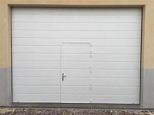 Porte Garage Sectionnelle Avec Portillon : porte sectionnelle blanche avec portillon dim 4200x3200mm ~ Melissatoandfro.com Idées de Décoration