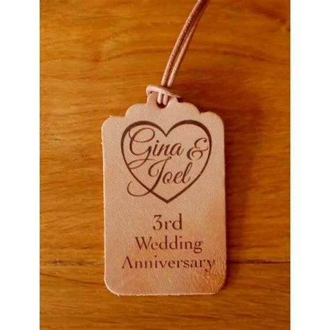 3rd wedding anniversary gift leather luggage tags or keyrings 3rd wedding anniversary gift