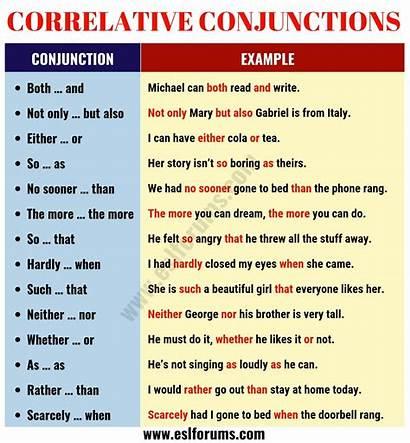 Conjunctions Correlative Sentences Example English Words Esl