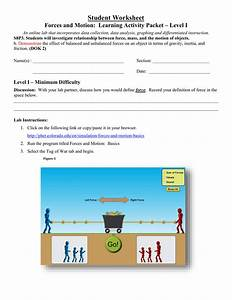 Forces And Motion Basics  Student Worksheet Level 1