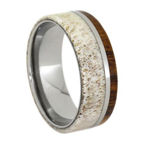 deer antler ring wood wedding band titanium ring with
