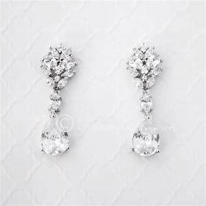 clip on cz bridal earrings oval and marquise teardrop