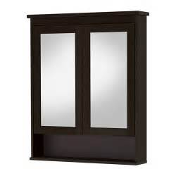 hemnes mirror cabinet with 2 doors black brown stain 32