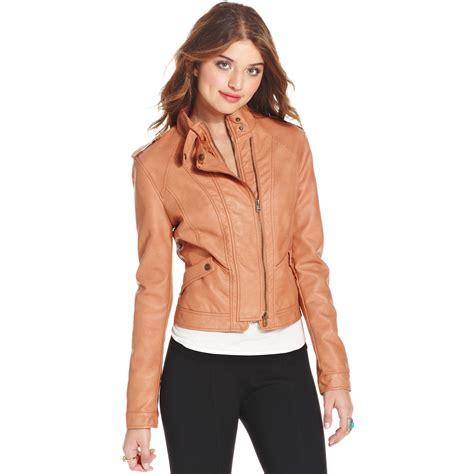 lyst american rag faux leather moto jacket in brown