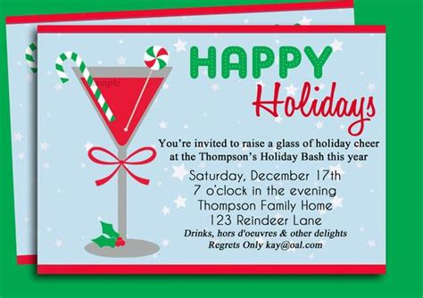 christmas party announcement for work cocktail invitation printable