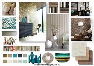 Coastal interior design concept mood board created using for Interior designer design board