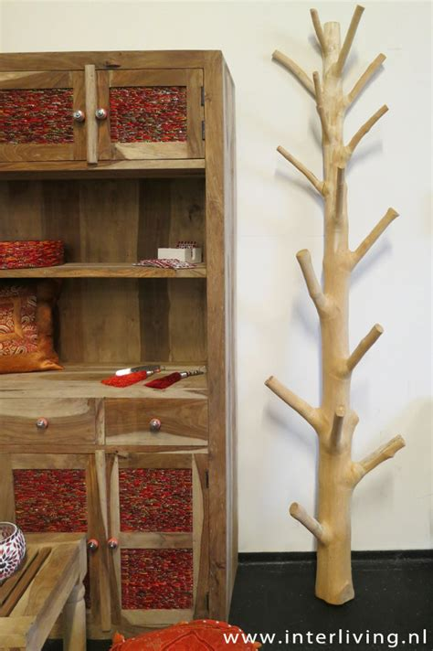kapstok staand hout houten kapstok boom prachtige en unieke kapstok webshop