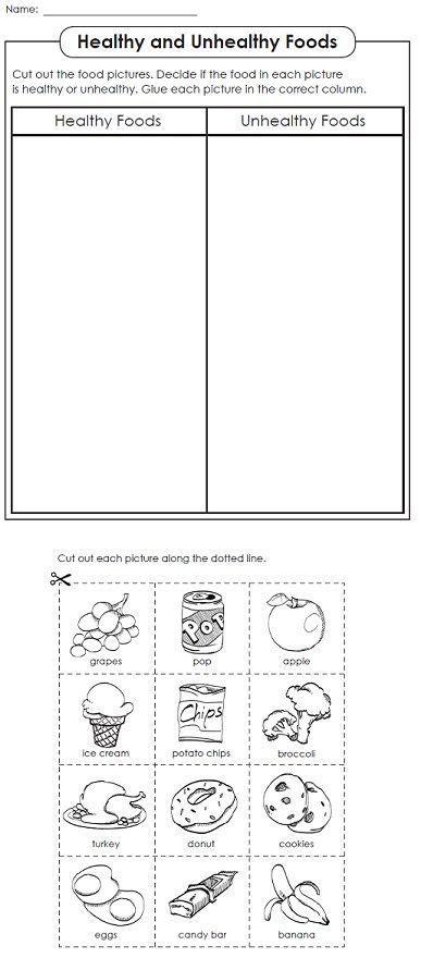 healthy vs unhealthy foods kindergarten food
